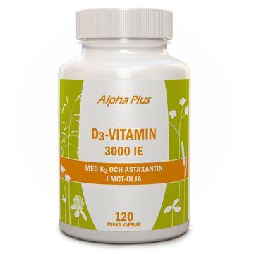 Alpha Plus D3-vitamin 3000 iE + K2 120 kapslar