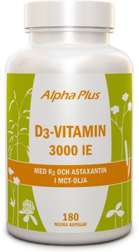 Alpha Plus D3-vitamin 3000 iE + K2 Kapslar, 180 st
