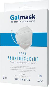 Galmask Andningsskydd FFP3 Munskydd för engångsbruk. 6 st