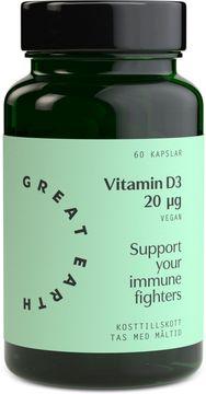 Great Earth Vitamin D3 Vegan 800 I.E 60 kapslar