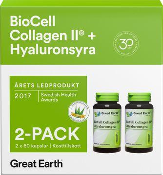Great Earth Biocell Collagen II + Hyaluronsyra Kapslar, 2 x 60 st