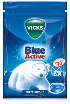 Vicks Blue Active Super Strong Sugar Free Halstablett, 72 g