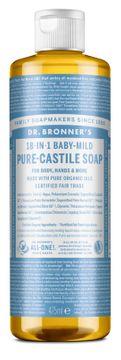 Dr. Bronner's Liquid Soap Mild Unscented Duschtvål, 475 ml