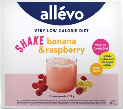 Allévo Shake Banana/Raspberry, VLCD Kostersättning, 15 st