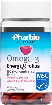 Pharbio Omega-3 Essentials Energi & Fokus Kapsel, 60 st