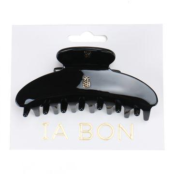 Ia Bon Large Hair Claw Glossy Black Hårklämma, 1 st