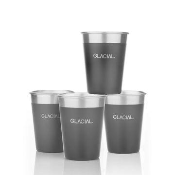 Glacial 4-pack Matte Black Cup Set Vattenflaska, 1 st
