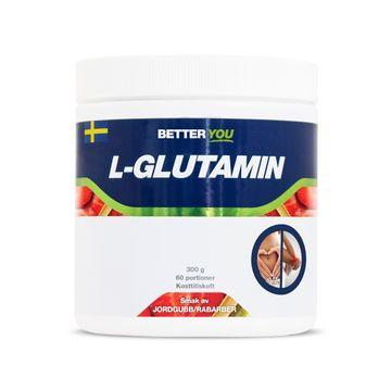 Better You Naturligt L-Glutamin Jordgubb/Rabarber Pulver, 300 g