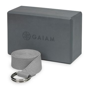 Gaiam Block Strap Combo Grey Yogablock + Yogaband