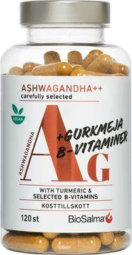 BioSalma Ashwagandha + Gurkmeja + B-vitaminer Kapslar, 120 st