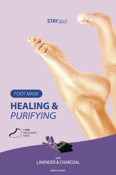 STAY Well Healing & Purifying Foot Mask Charcoal Fotmask, 1 st