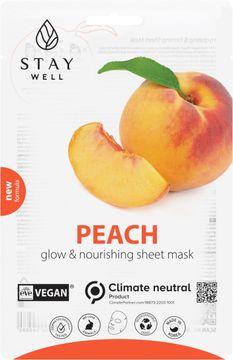 STAY Well Vegan Sheet Mask Peach Ansiktsmask, 20 g
