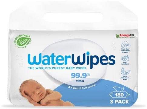 WaterWipes Biodegradable BabyWipes Våtservetter, 3 x 60 st