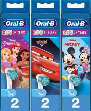 Oral-B Kids Cars/Mickey/Princess Extra Soft Tandborsthuvud 3 år+ Tandborsthuvuden, 2 st