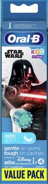 Oral-B Kids Star Wars Extra Soft Tandborsthuvud 3+ år Tandborsthuvuden, 4 st