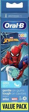 Oral-B Kids Spiderman Extra Soft Tandborsthuvud 3+ år Tandborsthuvuden, 4 st