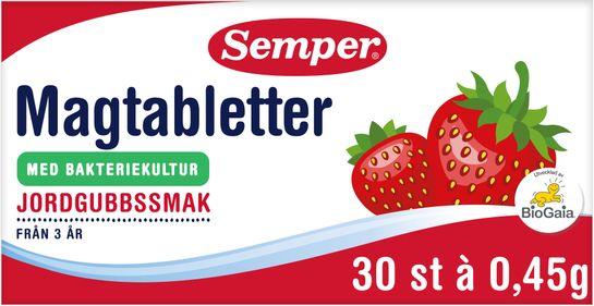Semper Magtabletter Jordgubb 13,5g Tuggtablett, 30 st