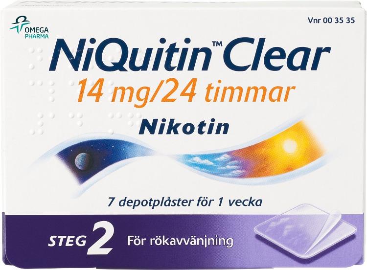 NiQuitin Clear Depotplåster 14 mg/24 timmar, 7 st