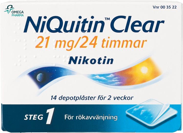 NiQuitin Clear Depotplåster, 21 mg/24 timmar, 14 st