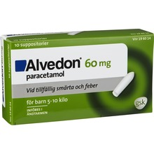 Alvedon - Suppositorium 60 mg Paracetamol 10 styck