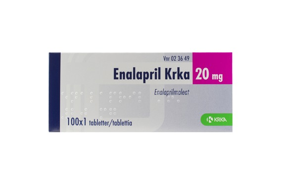 Enalapril Krka - Tablett 20 mg Enalapril 100 x 1 tablett(er)