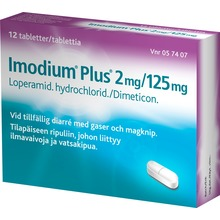 Imodium Plus - Tablett 2 mg/125 mg Loperamid + simetikon 12 tablett(er)