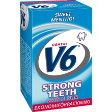 V6 Strong Teeth tuggummi - Sweet Menthol. 50 st