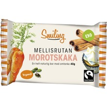 Smiling Morotskaka bar - Ekologisk godbit. Fairtrade. 40 g