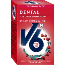 V6 Dental Care tuggummi - Strawberry Mint. 50 st